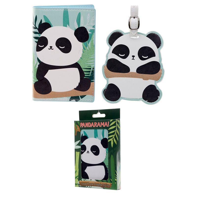 Bolso de mano de piel con diseño de oso panda y rosas para